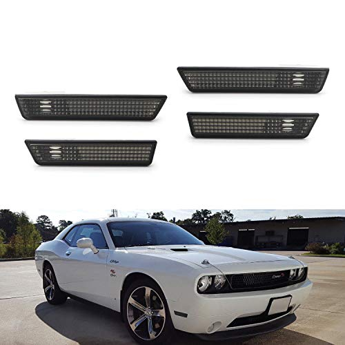 (iJDMTOY Complete Smoked Lens Sidemarker Lamp Housings For 08-14 Dodge Challenger, (4) OE-Spec Side Marker Lenses For Front & Rear Bumpers)