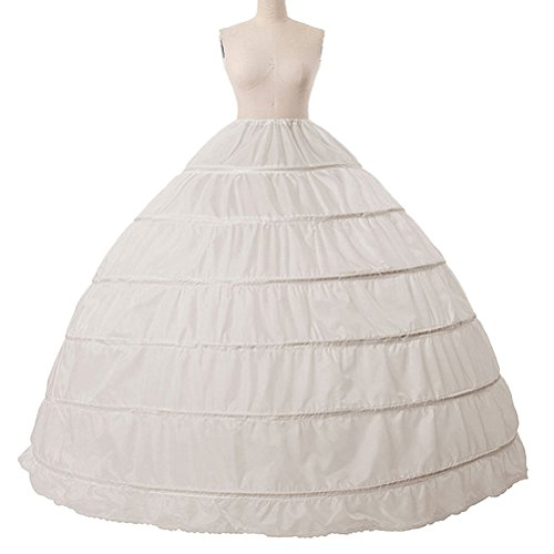 Women's Petticoat Skirt Puffy Ball Gown Slips 6 Hoop Crinoline Underskirt for Prom Wedding (Super Hoops Costumes)