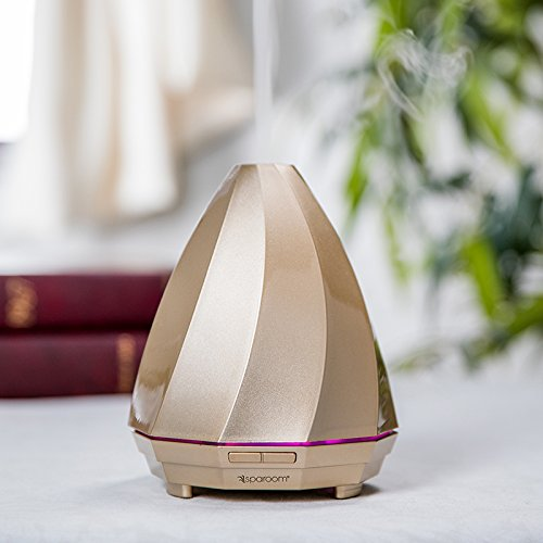 SpaRoom Titan USB Ultrasonic Essential Oil Diffuser For Aromatherapy, Gold, AC Adapter Included