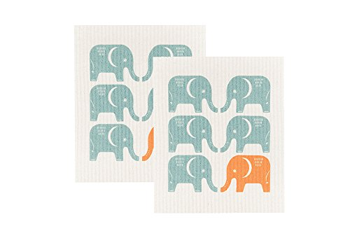 Now Designs Swedish Dishcloth, Set of Two, Edgar Elephant (Elephant Dish)