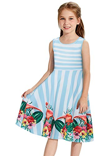 Girls Flamingo Sleeveless Dress Cute Blue White Striped Dress Spring Sleveless Swing Skirt Floral Beautiful Sunday Dress Twirling Dress Sundress Bohemian Kids Birthday Party -