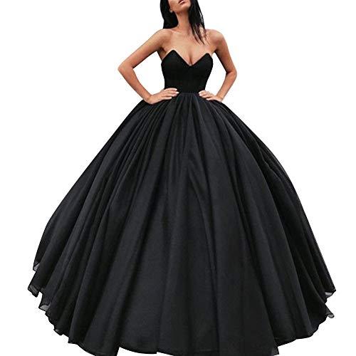 Bess Robe De Mariée Cou V Féminin De Balle Lacer Robe De Mariée Bal En Tulle De Soirée Noire