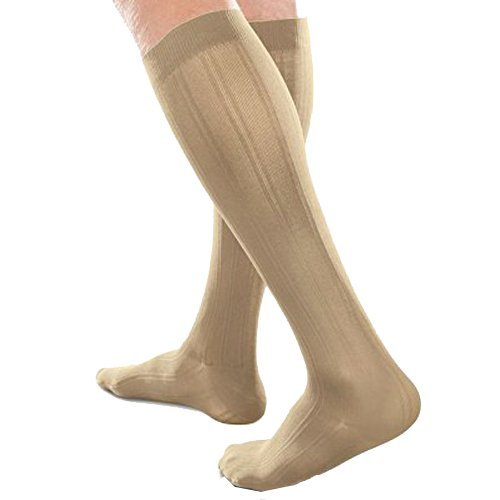Therafirm Mens Dress Sock - Ease Opaque Men's Trouser Socks with Moderate (20-30mmHg) Compression (Khaki, Small Short)
