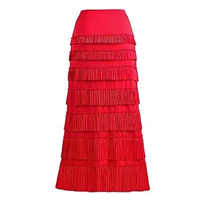 GATHY Women's 7 Tiered Boho Layered Pleated Ruffles Waterfall Maxi Skirt