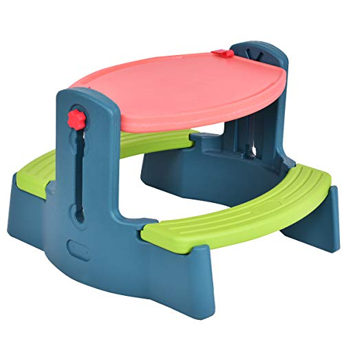 (Honey Joy Kids Art Table Chair Set, 2 in 1 Height Adjustable Creativity Desk Easel)