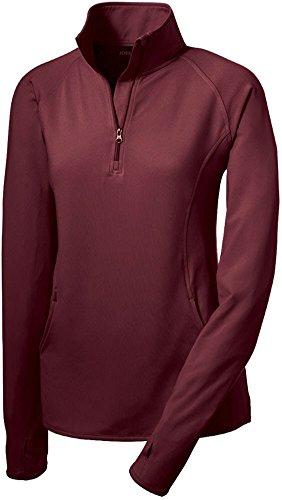 Joe's USA(tm) Ladies Moisture Wicking Stretch 1/2-Zip Pullover Sweatshirt Maroon-L -