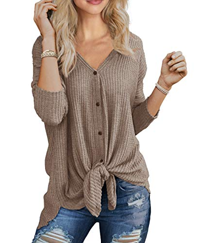 Bat Sleeve Women Sweaters - IWOLLENCE Womens Loose Henley Blouse Bat Wing Long Sleeve Button Down T Shirts Tie Front Knot Tops Khaki M