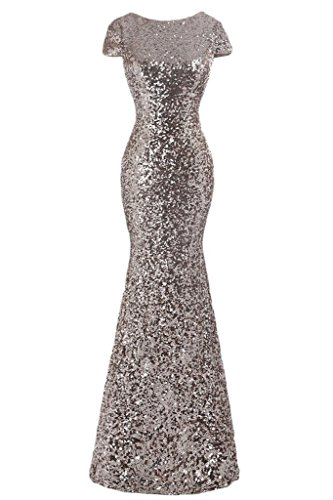 Mermaid Silver Sleeve Dress US20 Evening Sequins Women's Cap Olidress Bridesmaid TSqwtv8x