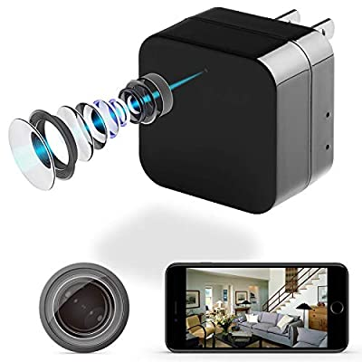 DENT 1080P USB Charger Camera WiFi - HD Camcorder with Motion Detection, Pet Nanny Security Cam, USB AC Wall Plug Adapter for Phone, Support 128GB SD