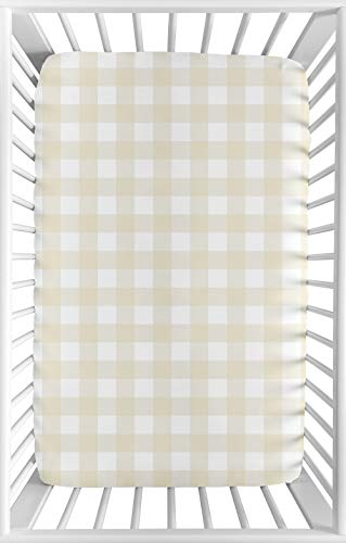 Sweet Jojo Designs Beige and White Buffalo Plaid Check Baby Boy Fitted Mini Portable Crib Sheet for Woodland Camo Collection - for Mini Crib or Pack and Play ONLY