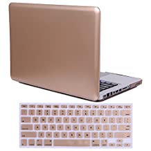 "HDE MacBook Pro 13"" Non Retina Case Rose Gold Hard Shell Rubber Coated Plastic Cover with Keyboard Skin Fits CD Drive Models A1278 (Gold)"