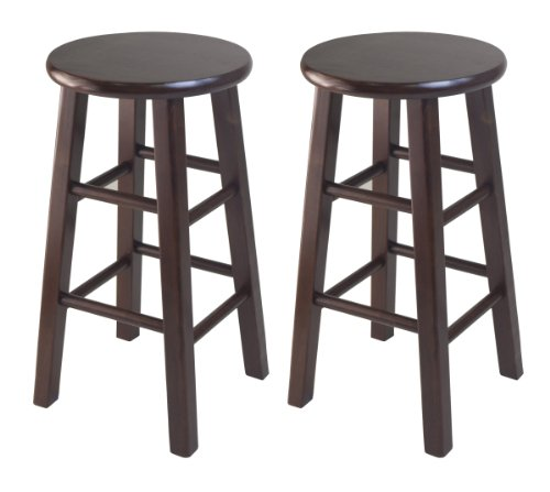 Winsome Set Of 2 Square Leg, 24-inch Counter Stool, Antique Walnut (Antique Wood Bar For Sale)