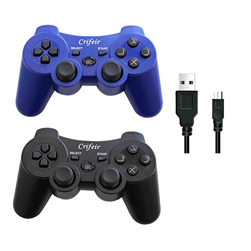 Crifeir 2 Pack Wireless Controller for Playstation 3 PS3 with Charger Cable(Black and Blue) (Color: Black and Blue)