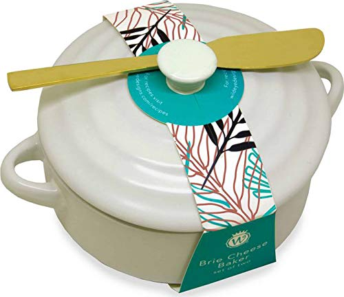 Wild Eye Designs BRE 723 A3 Brie Baker and Knife Set, 7'' x 7'' x 4.25'', Classic Cream by Wild Eye Designs (Image #3)