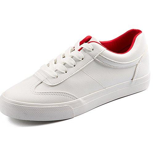 GYHDDP Línea de Bolsos PU de Cómodos Zapatos de Lona Blancos Salvajes Anti-Olor de Alta Calidad Rojo