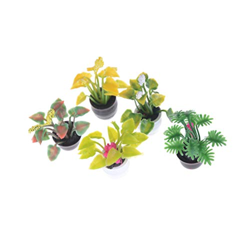 HIVE FIVE STORE 1:12 Dollhouse Miniature Potted Plant Flowers Pot Doll House Decor Furniture Fairy Garden Ornament Craft