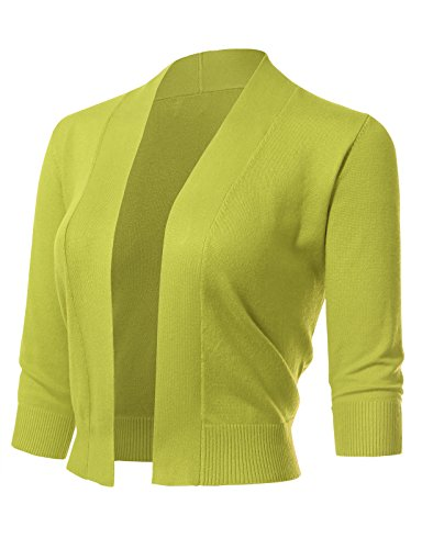 ARC Studio Women's Classic 3/4 Sleeve Open Front Cropped Cardigans (S-XL) XL Lime
