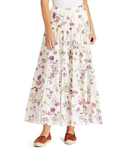 Lauren Ralph Lauren Women Tiered Floral Print Cotton-Blend Skirt, Chalk Multi (S) - Skirt Ralph Lauren Print
