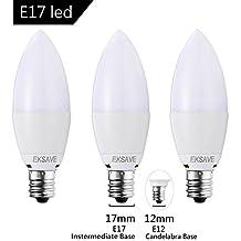 EKSAVE (3 Pack) 7W E17 Candelabra LED Bulb, Equivalent 60 Watt Light Bulbs ,Candelabra led E17 Candelabra Base,700 Lumens LED Lights Not Dimmable , (White 6000K )