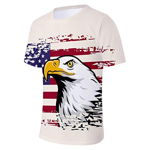 (Mens US Flag Athletic Short Sleeve T-Shirt Casual Tactical Tee American Patriotic - USA Independence Day (XXL, Beige))