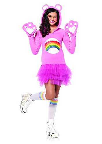 Leg Avenue Junior's Care Bears Cheer Bear Costume, Light Pink, (Care Bears Halloween Costumes Adults)