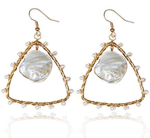 KissYan Handmade Pearl Dangle Drop Earrings Copper Wire Weaving Hollow Geometric Statement Earrings for Women Girls (03 - Inverted Triangle Earrings