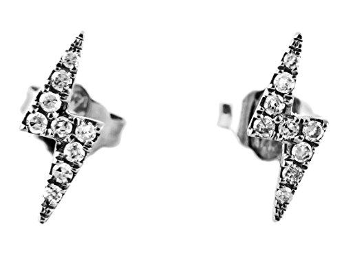 (0.10ct Micro Pavé Diamonds in 14K Gold Lightning Bolt Stud Earrings (white-gold))