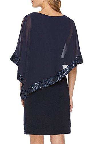 Bodycon Abito Cocktail Navy Da Chiffon Blu Donna Dress Vestito Yming ikPuOZX