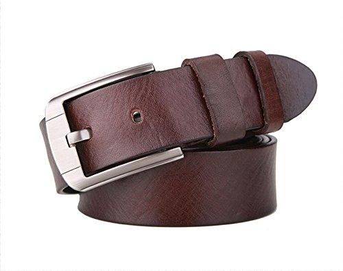 GPPZ Véritable Ceintures en Cuir pour Hommes Cowboy De Luxe Bracelet Marque  Mâle Designer Ceinture Vintage Fantaisie Jeans Haute Qualité,Brown,XL  ... 3528edd8fd2