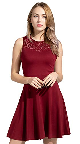 Sylvestidoso Women's A-Line Sleeveless Pleated Little Wine Red Cocktail Party Dress with Floral Lace (M, Wine Red)