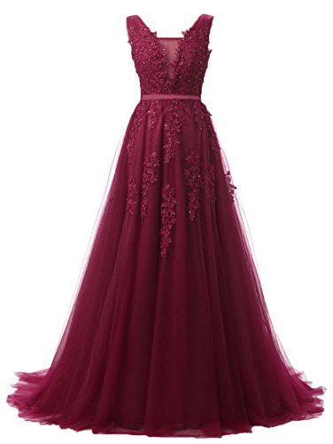 Huifany Formal Long Sweep Train Prom Gowns Beaded V Neck Evening Dresses Dark Red,14 (Slim Gown Prom)