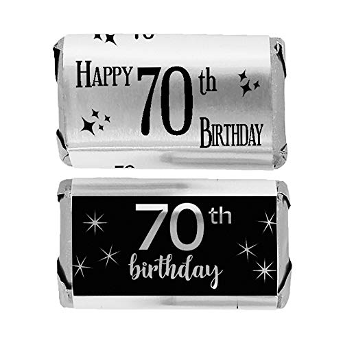 Black and Silver 70th Birthday Mini Candy Bar Wrappers | Shiny Foil | 45 Count