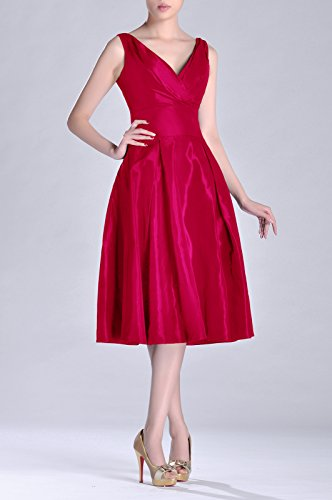 Length Pleated A Modest Tea bridesmaids Dress Fuchsia Taffeta neck line V Bridesmaid Formal pf6HCwqx