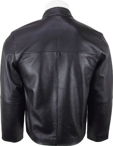 UNICORN Hommes mode de court en cuir Veste Noir toucher doux en cuir #EO