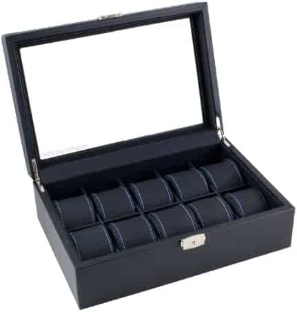 Caddy Bay Collection Black Carbon Fiber Pattern Watch Box Display Storage Case with Glass Top, Blue Stitching Perforated Soft Pillows Holds 10 Watches - Blue Stitching