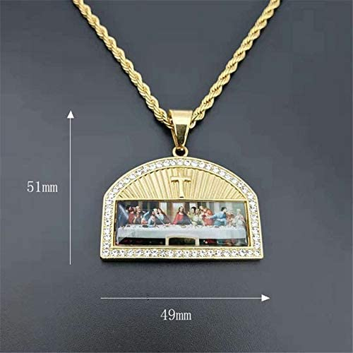 Steel Color, 710 mm Iced Out The Last Supper Pendant Necklace Male Gold Color Stainless Steel Cross Necklaces for Men Religious Jewelry