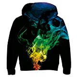 Uideazone Unisex Boys Girls Cool Skull Smoke Pullover Hoodie Sweatshirt Black Plus Size