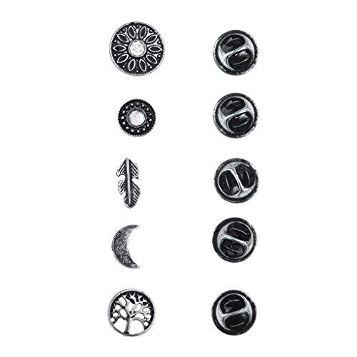 Lux Accessories Burnish Silver Boho Burnish Finish Novelty Pin Brooch Set (5PCS)