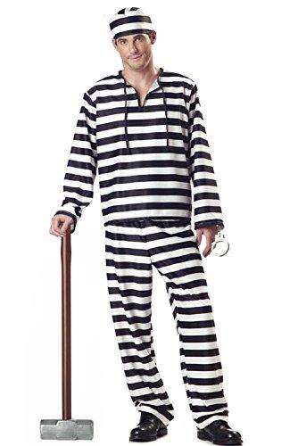 Genluna Jailbird Or Prisoner Costume Medium Men (Jailbird Adult Costume)