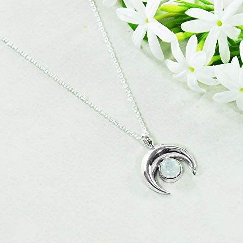 Sivalya Crescent Moon Necklace in 925 Sterling Silver with a Moonstone Gemstone - 17