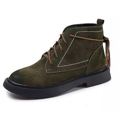 comodidad EU39 redonda Pu de Ejército informal Up planas botas otoño mujer RTRY UK6 Suede 5 puntera Para US8 Calf Zapatos Fashion CN40 botas primavera tacón 5 de botas Mid polipiel Lace pwqTq8