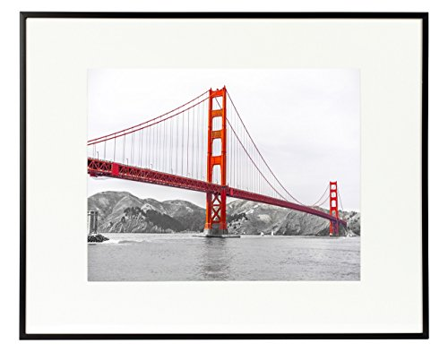 Frametory, 16x20 Poster Frame,Aluminum Matte Black Photo Frame with Ivory Color Mat for 11x14 Picture & Real Glass (Metal, 16x20)