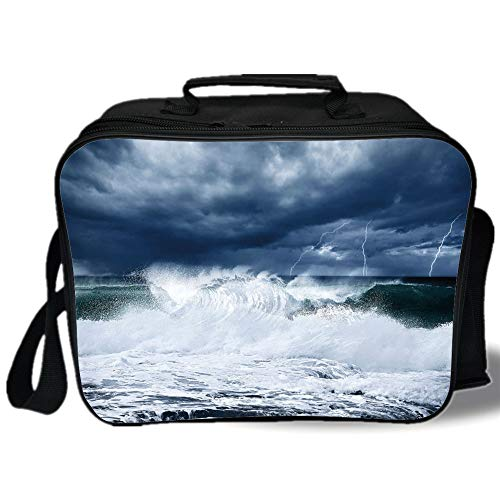 Blue Thunder Fuel - Wave 3D Print Insulated Lunch Bag,Thunderstorm and Lightning on Beach Cloudy Rainy Sky Powerful Tide Cold Dramatic Decorative,for Work/School/Picnic,Dark Blue White