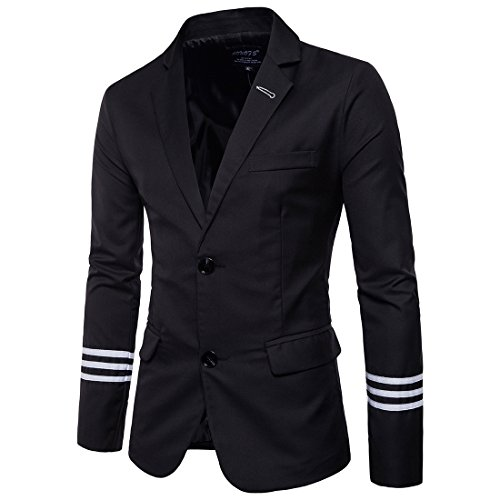 (Men's Casual Blazer Lapel Two Buttons Basic Fashion Regular Fit Solid Sport Jacket Black)