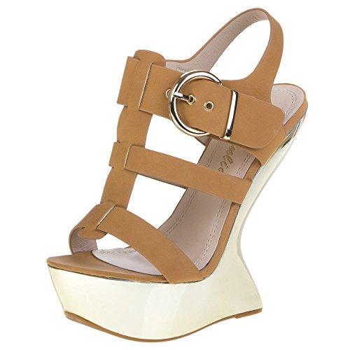 Ital-Design - Sandalias de vestir de Material Sintético para mujer Marrón - beige camel