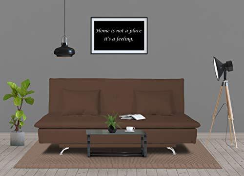 Adorn India Aspen Three Seater Sofa Cum Bed Single Tone Fabric (Brown)