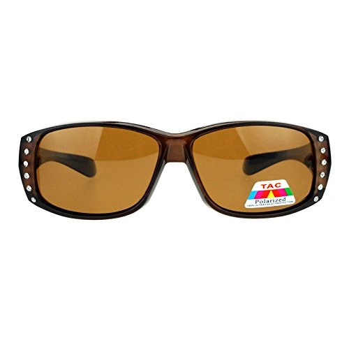 SA106 Polarized Glare Free Rhinestone Womens Fitover OTG 57mm Sunglasses Brown