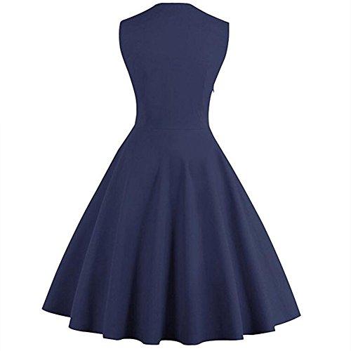 Qingxian Azul Noche Vestido Marino para Mujer rIvrTq