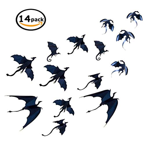 Diy Gothic Halloween Decorations (SYBOOMING Dragon Wall Decals -14 Pack DIY Halloween Gothic 3D Removable Dragon Wall Stickers for Wall Decor,Home)