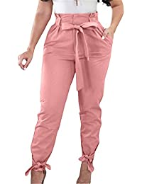 Women Solid Casual Work Trousers High Waist Ruffle Bow...